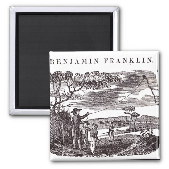 Benjamin Franklin  Conducts his Kite Experiment 2 Inch Square Magnet