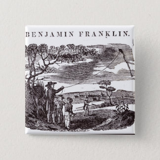 Benjamin Franklin  Conducts his Kite Experiment Pinback Button