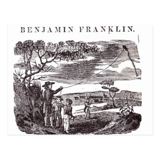 Benjamin Franklin  Conducts his Kite Experiment Postcard
