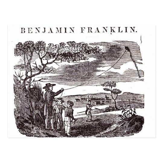 Benjamin Franklin  Conducts his Kite Experiment Postcard