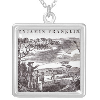 Benjamin Franklin  Conducts his Kite Experiment Silver Plated Necklace