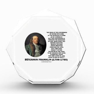 Benjamin Franklin Conversion Of Water Into Wine Award