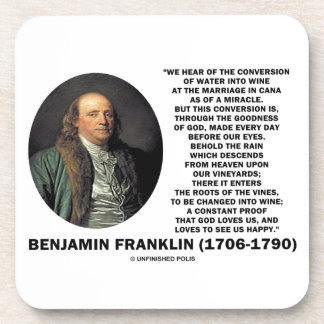 Benjamin Franklin Conversion Of Water Into Wine Coasters