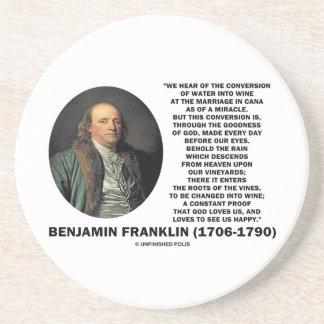 Benjamin Franklin Conversion Of Water Into Wine Sandstone Coaster