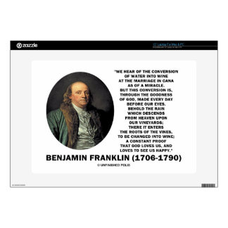 Benjamin Franklin Conversion Of Water Into Wine Decal For Laptop