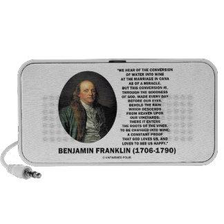 Benjamin Franklin Conversion Of Water Into Wine Travelling Speaker