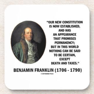 Benjamin Franklin Death Taxes Quote Beverage Coaster