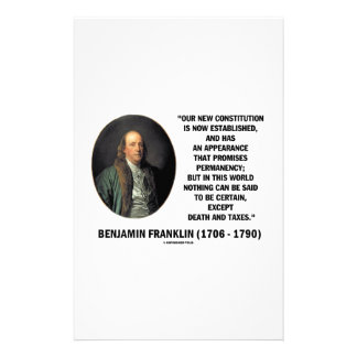 Benjamin Franklin Death Taxes Quote Stationery
