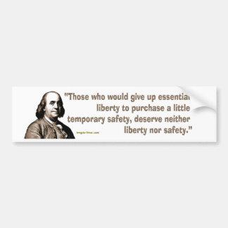 Benjamin Franklin en seguridad y libertad Pegatina Para Auto