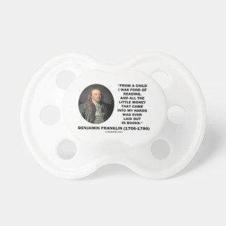 Benjamin Franklin encariñado con cita del dinero Chupetes De Bebe