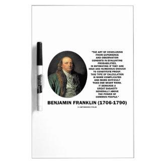 Benjamin Franklin Evaluating Probabilities Quote Dry-Erase Board