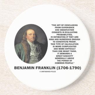 Benjamin Franklin Evaluating Probabilities Quote Sandstone Coaster