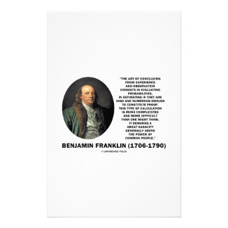 Benjamin Franklin Evaluating Probabilities Quote Stationery