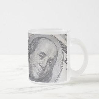 Benjamin Franklin Face 10 Oz Frosted Glass Coffee Mug