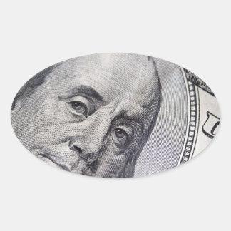 Benjamin Franklin Face Oval Sticker