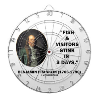 Benjamin Franklin Fish & Visitors Stink In 3 Days Dartboard With Darts