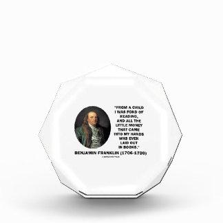 Benjamin Franklin Fond Of Reading Money Quote Acrylic Award