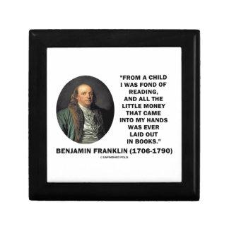 Benjamin Franklin Fond Of Reading Money Quote Jewelry Box