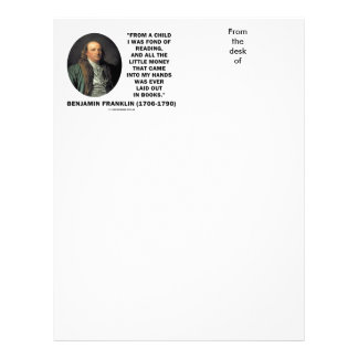 Benjamin Franklin Fond Of Reading Money Quote Letterhead