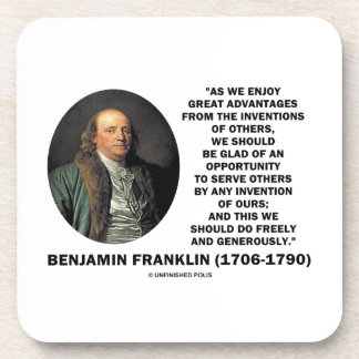 Benjamin Franklin Great Advantages Invention Quote Beverage Coaster
