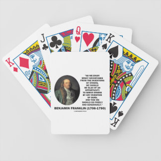 Benjamin Franklin Great Advantages Invention Quote Bicycle Playing Cards