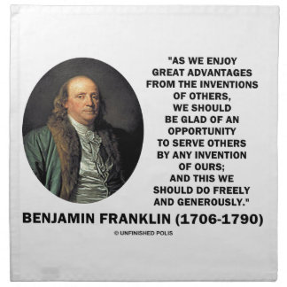 Benjamin Franklin Great Advantages Invention Quote Cloth Napkin
