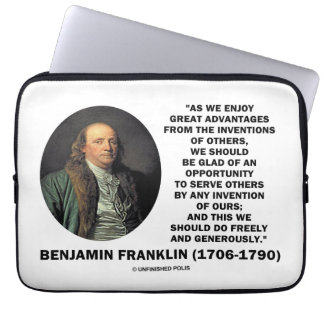 Benjamin Franklin Great Advantages Invention Quote Computer Sleeve