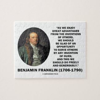 Benjamin Franklin Great Advantages Invention Quote Jigsaw Puzzle
