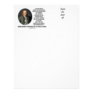Benjamin Franklin Great Advantages Invention Quote Letterhead