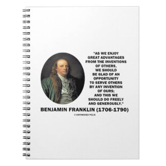 Benjamin Franklin Great Advantages Invention Quote Notebook
