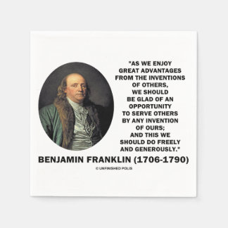 Benjamin Franklin Great Advantages Invention Quote Paper Napkin