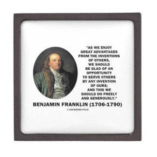 Benjamin Franklin Great Advantages Invention Quote Premium Gift Box