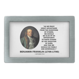 Benjamin Franklin Great Advantages Invention Quote Rectangular Belt Buckle