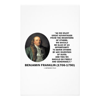 Benjamin Franklin Great Advantages Invention Quote Stationery