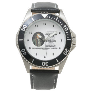 Benjamin Franklin Great Advantages Invention Quote Wristwatch
