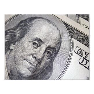 """Benjamin Franklin hace frente Invitación 4.25"""" X 5.5"""""""