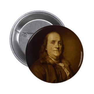 Benjamin Franklin Head and Shoulders Portrait Pinback Button