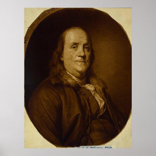Benjamin Franklin Head and Shoulders Portrait Poster