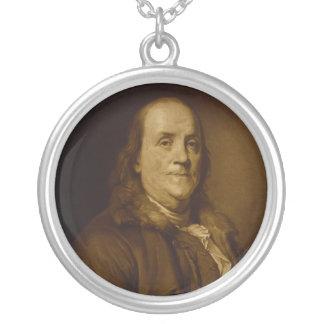 Benjamin Franklin Head and Shoulders Portrait Round Pendant Necklace