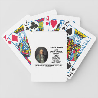 Benjamin Franklin Healthy Wealthy Wise Quote Bicycle Playing Cards