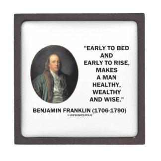 Benjamin Franklin Healthy Wealthy Wise Quote Premium Gift Box