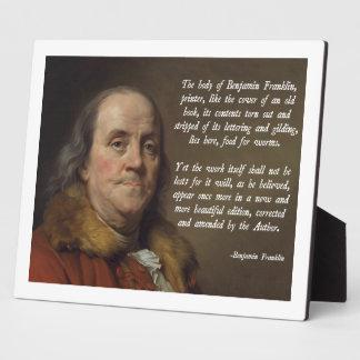 Benjamin Franklin Heaven Photo Plaque