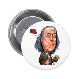 Benjamin Franklin Holding Kite with Key On String Buttons