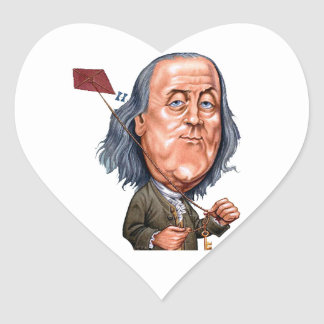 Benjamin Franklin Holding Kite with Key On String Heart Sticker