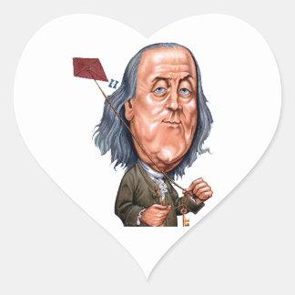 Benjamin Franklin Holding Kite with Key On String Heart Sticker