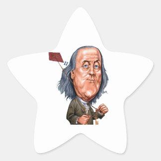 Benjamin Franklin Holding Kite with Key On String Star Sticker