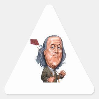 Benjamin Franklin Holding Kite with Key On String Triangle Sticker