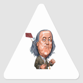 Benjamin Franklin Holding Kite with Key On String Triangle Sticker