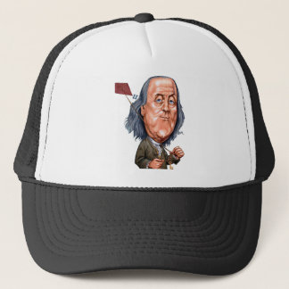 Benjamin Franklin Holding Kite with Key On String Trucker Hat