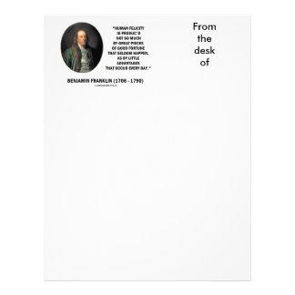 Benjamin Franklin Human Felicity Advantages Quote Letterhead